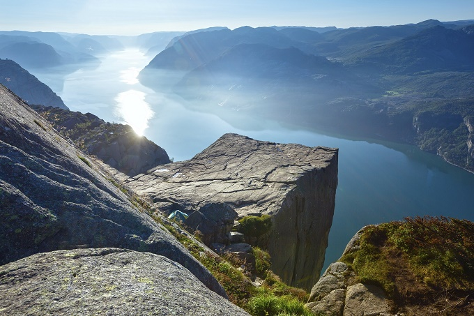 Preikestolen massive cliff (Norway, Lysefjorden summer morning view)